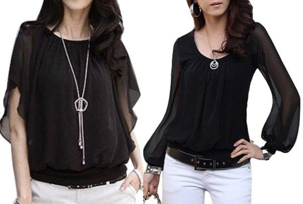 черные шифоновые блузки на фото