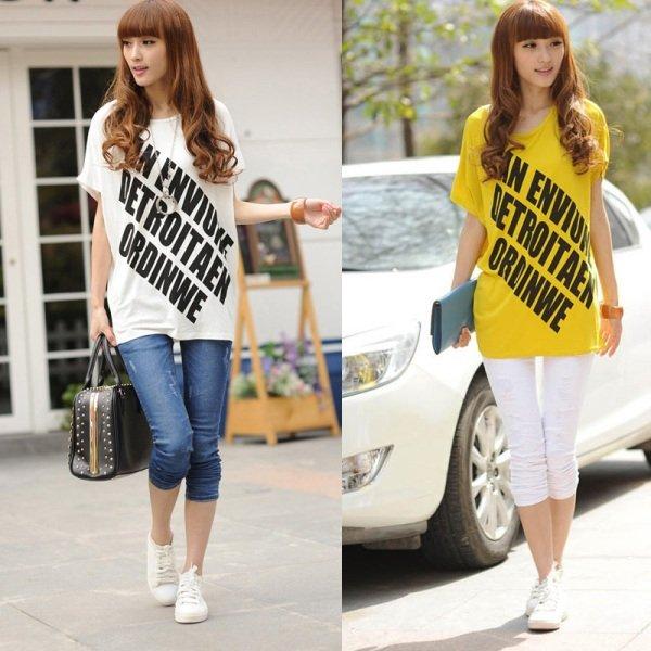 на фото модные женские футболки