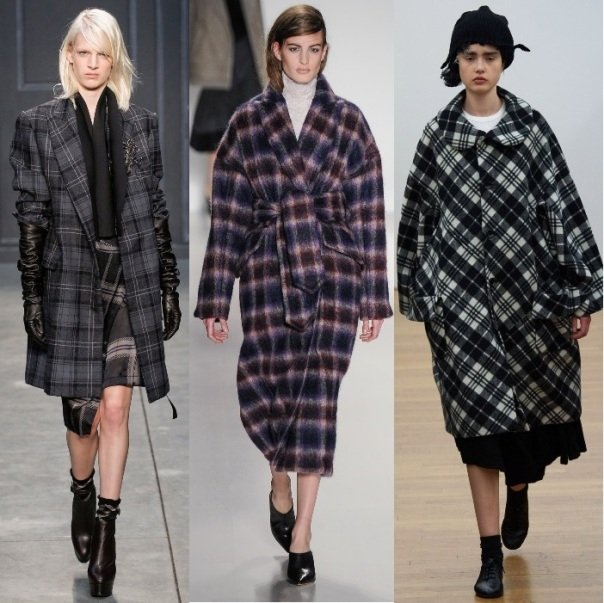 женское пальто в клетку на осень 2014