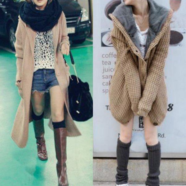 фото женского вязаного пальто