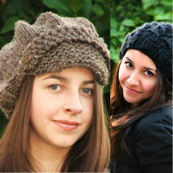 вязаные женские шапки на фото