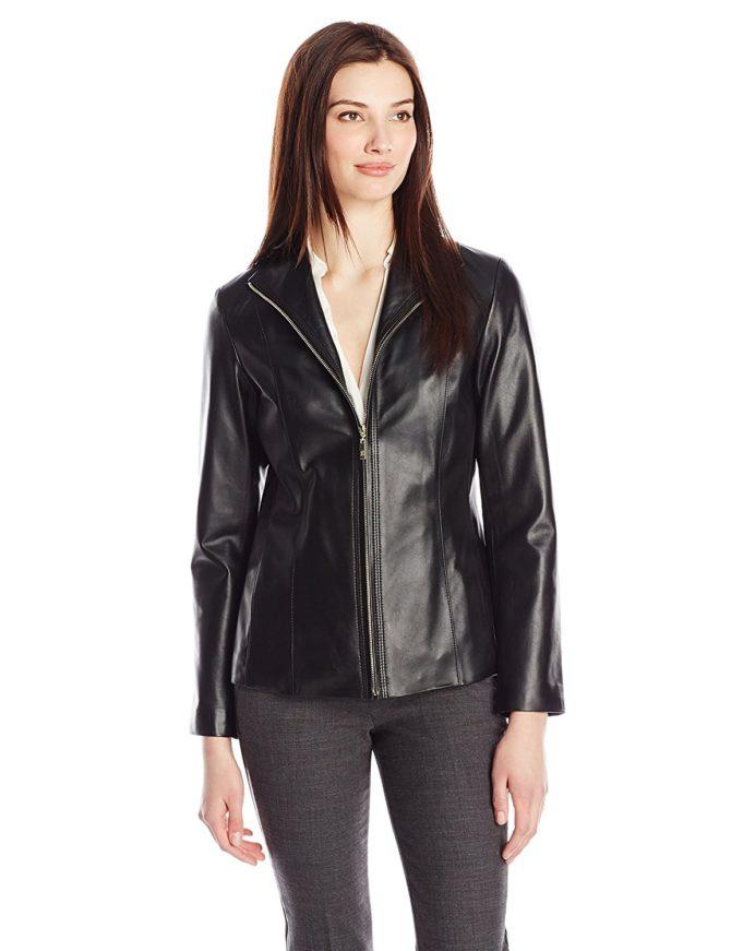Классическая модель женской кожаной куртки