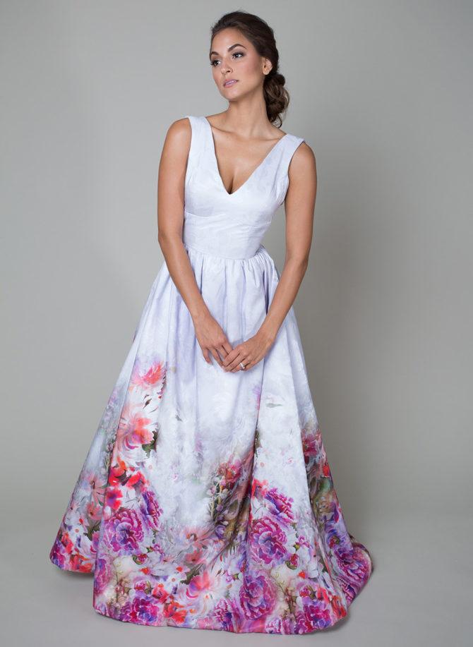 Свадебное платье с цветочным принтом