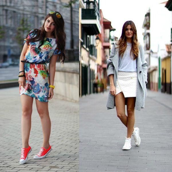 Две девушки в кедах, легком платье c цветочным принтом и юбке с кардиганом
