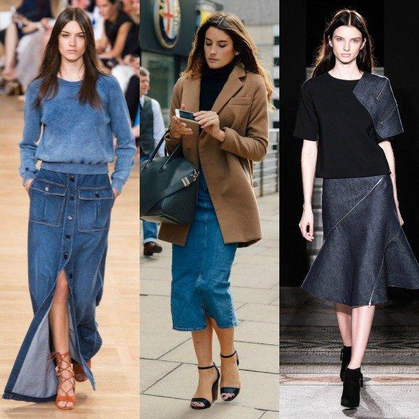 девушки в длинных джинсовых юбках со стильных подходящим под юбку сочитанием