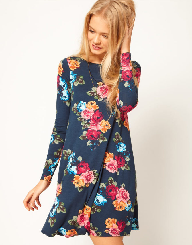 Платье с цветочным принтом для подростков 2017