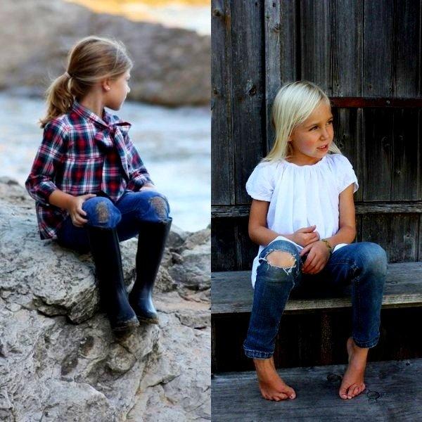 На фото рванные джинсы для детей