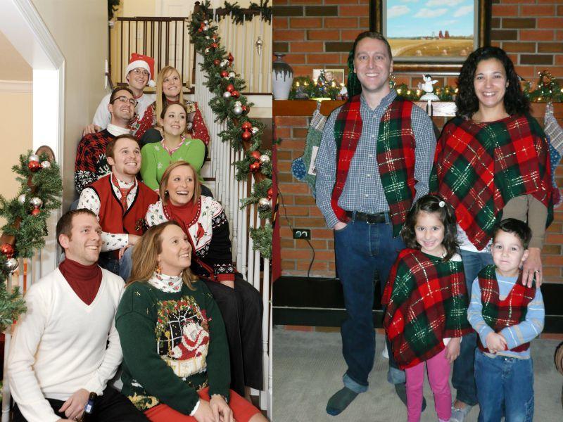 Две семьи, одетые в стиле Family look, на рождественских фотографиях