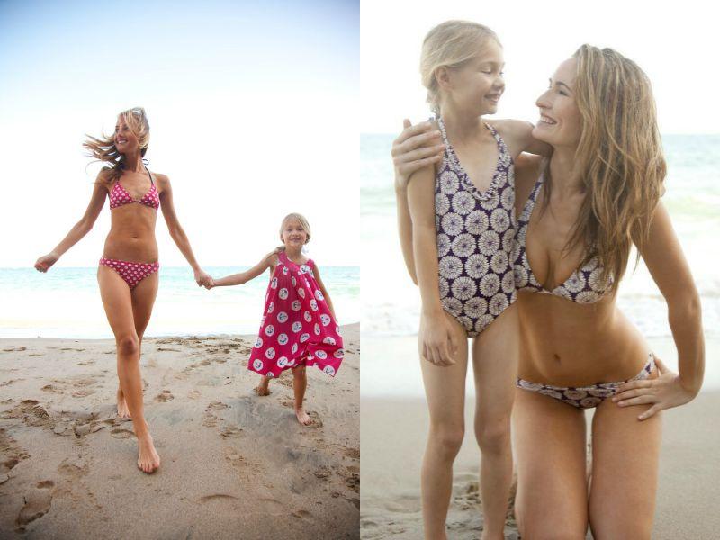 Мамы с дочерьми в купальниках в стиле Family look
