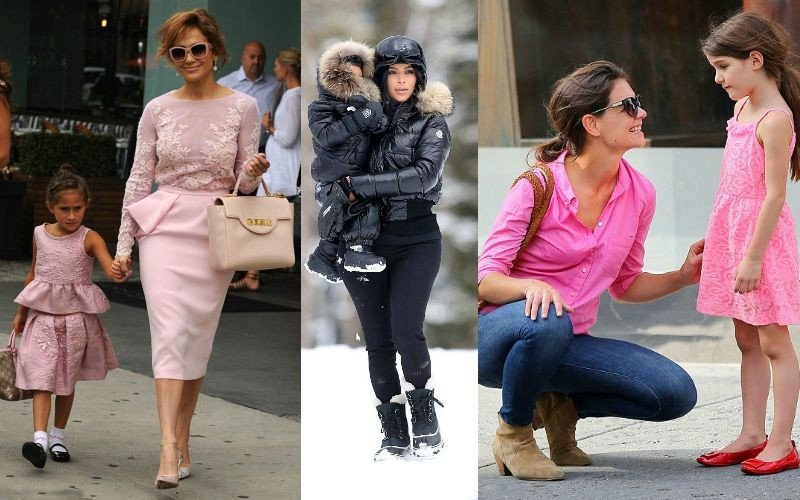 Дженифер Лопес, Ким Кардашьян и Кэти Холмс с детьми в комплектах в стиле Family look