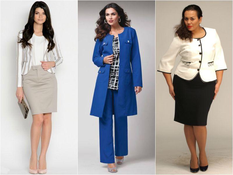 Варианты деловых костюмов для полных женщин