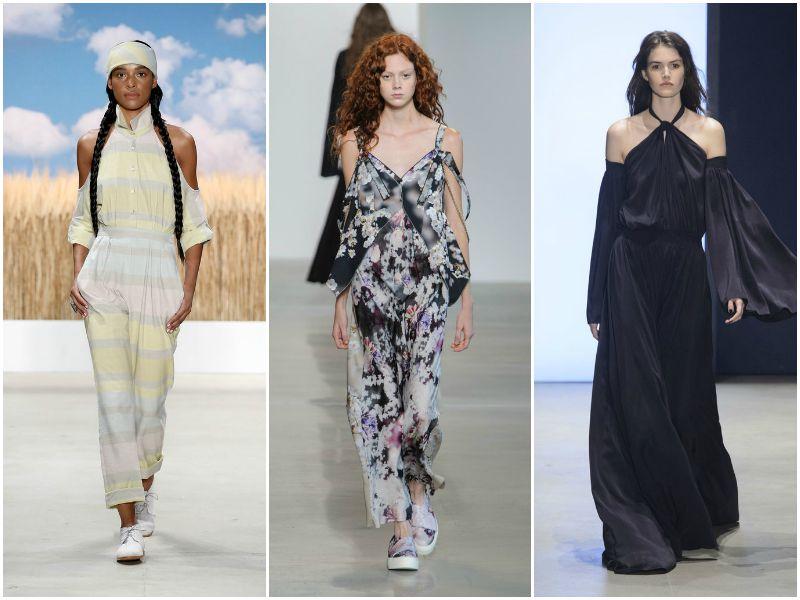 Обнажённые плечи на неделе моды в Нью-Йорке