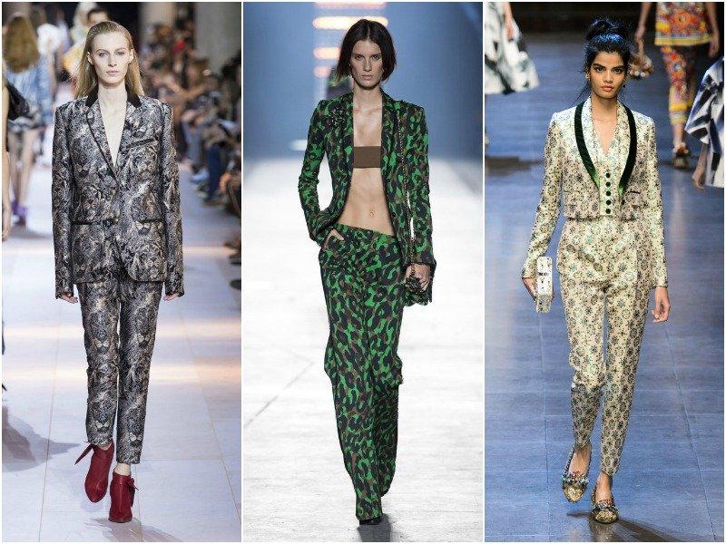 Брючные костюмы в коллекциях Roberto Cavalli, Versace и Dolce and Gabbana