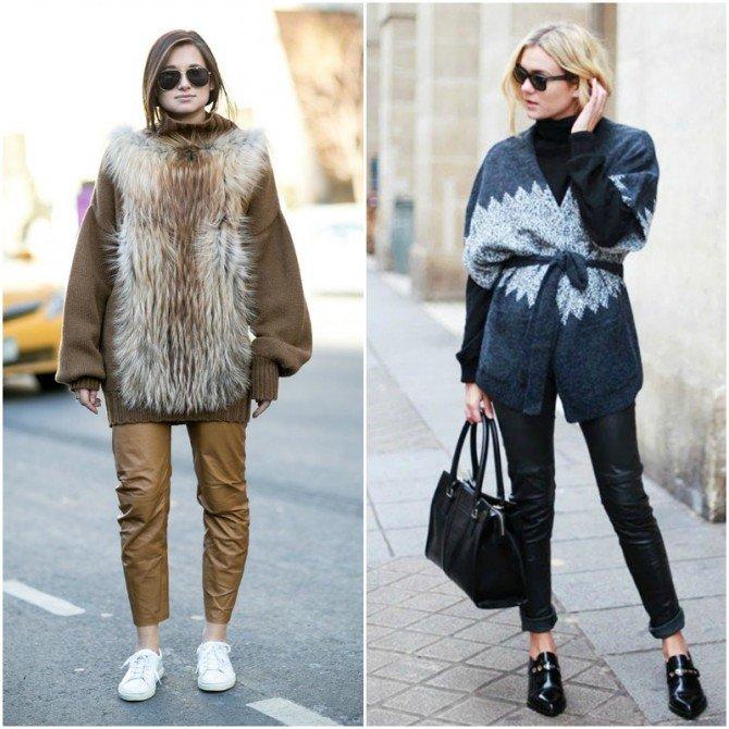 Объёмный свитер и кожаные брюкина девушках