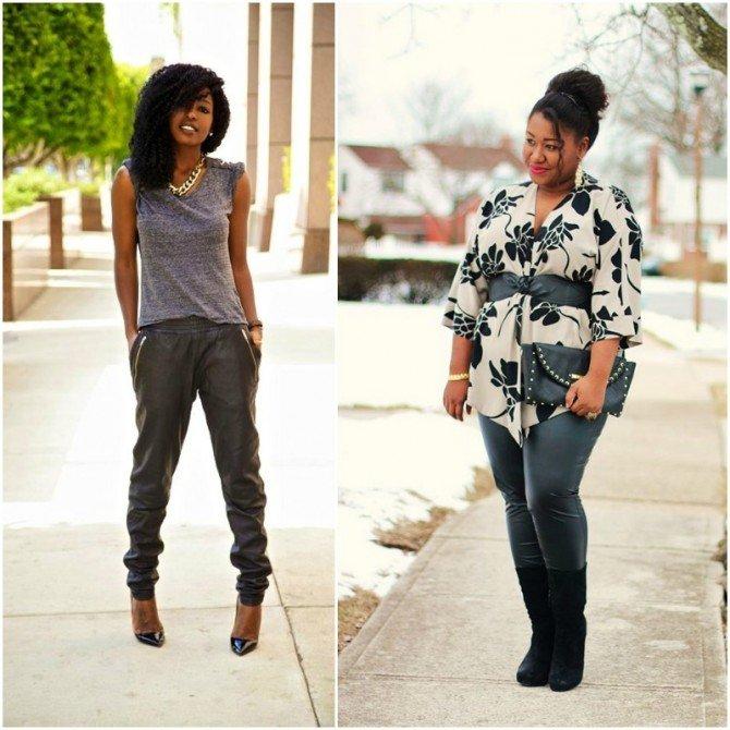 Девушки разной комплекции в кожаных брюках