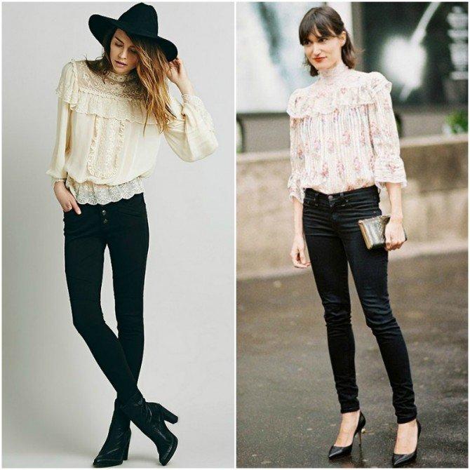 Кожаные брюки в сочетаниии с романтичными блузками
