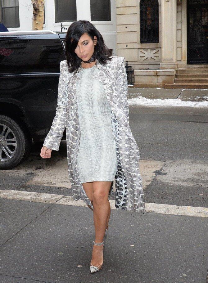 Ким в одежде со змеиным принтом