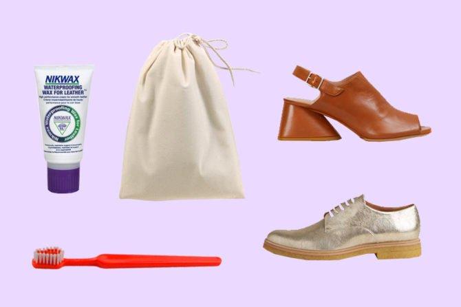 Обувь, мешок, зубная щётка и средство для обуви