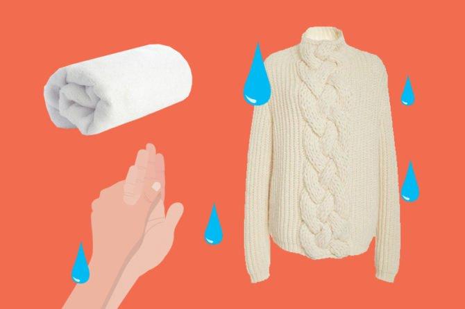 Вязаный свитер и мягкое полотенце