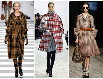 Модное пальто в клетку 2019-2020