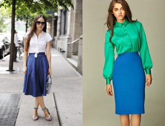 С чем и как модно носить синюю юбку?