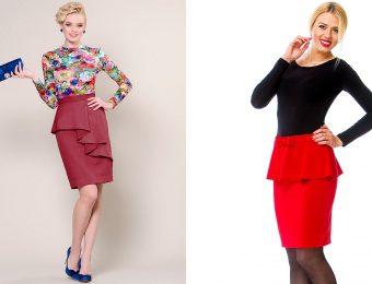 Прямая юбка с баской: с чем её носить?