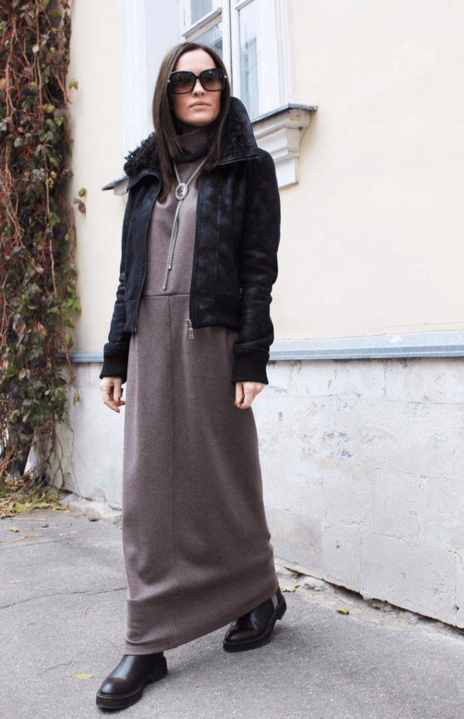 Длинное платье с курткой